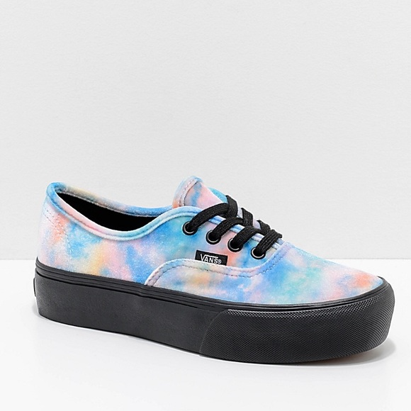 99ed79e086 Velvet Tie- Dye Authentic Platforms